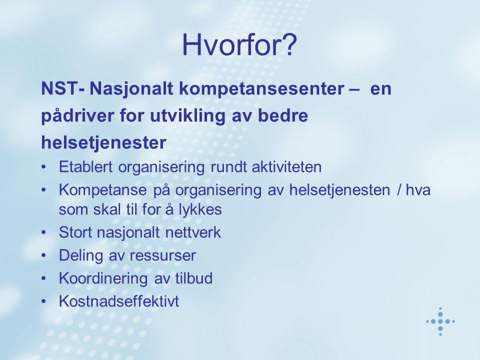 Hvorfor? NST- Nasjonalt kompetansesenter – en pådriver for utvikling av bedre helsetjenester Etablert organisering rundt aktiviteten Kompetanse på org