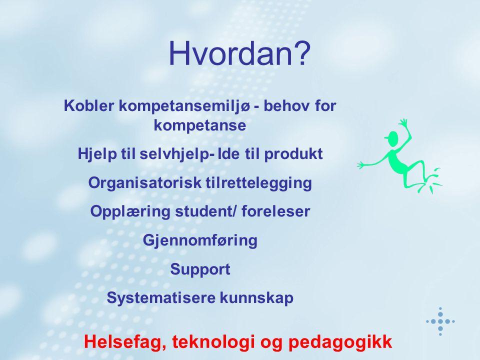 Hvordan? Kobler kompetansemiljø - behov for kompetanse Hjelp til selvhjelp- Ide til produkt Organisatorisk tilrettelegging Opplæring student/ forelese