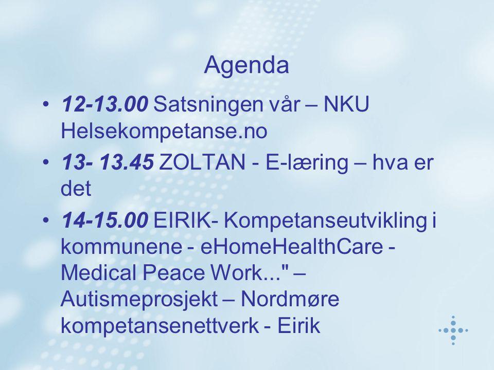 Agenda 12-13.00 Satsningen vår – NKU Helsekompetanse.no 13- 13.45 ZOLTAN - E-læring – hva er det 14-15.00 EIRIK- Kompetanseutvikling i kommunene - eHomeHealthCare - Medical Peace Work... – Autismeprosjekt – Nordmøre kompetansenettverk - Eirik