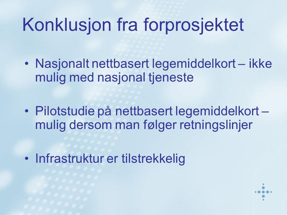 Konklusjon fra forprosjektet Nasjonalt nettbasert legemiddelkort – ikke mulig med nasjonal tjeneste Pilotstudie på nettbasert legemiddelkort – mulig dersom man følger retningslinjer Infrastruktur er tilstrekkelig
