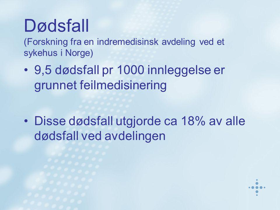 Dødsfall (Forskning fra en indremedisinsk avdeling ved et sykehus i Norge) 9,5 dødsfall pr 1000 innleggelse er grunnet feilmedisinering Disse dødsfall utgjorde ca 18% av alle dødsfall ved avdelingen