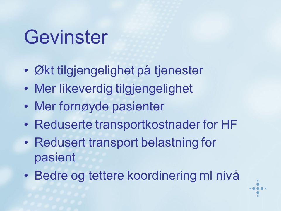 Gevinster Økt tilgjengelighet på tjenester Mer likeverdig tilgjengelighet Mer fornøyde pasienter Reduserte transportkostnader for HF Redusert transpor
