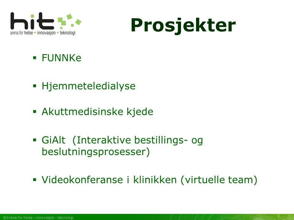 ©Arena for helse – innovasjon - teknologi Prosjekter  FUNNKe  Hjemmeteledialyse  Akuttmedisinske kjede  GiAlt (Interaktive bestillings- og beslutningsprosesser)  Videokonferanse i klinikken (virtuelle team)