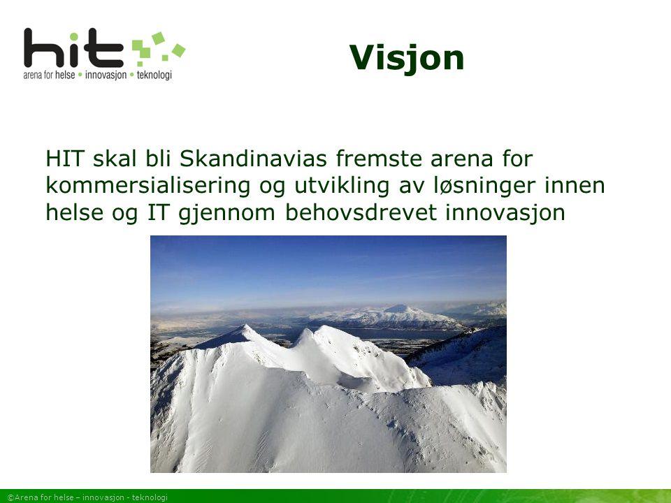 ©Arena for helse – innovasjon - teknologi Visjon HIT skal bli Skandinavias fremste arena for kommersialisering og utvikling av løsninger innen helse og IT gjennom behovsdrevet innovasjon