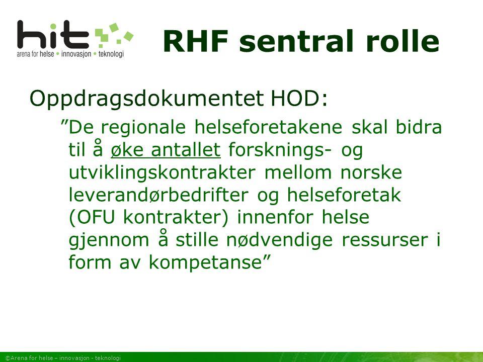 ©Arena for helse – innovasjon - teknologi RHF sentral rolle Oppdragsdokumentet HOD: De regionale helseforetakene skal bidra til å øke antallet forsknings- og utviklingskontrakter mellom norske leverandørbedrifter og helseforetak (OFU kontrakter) innenfor helse gjennom å stille nødvendige ressurser i form av kompetanse