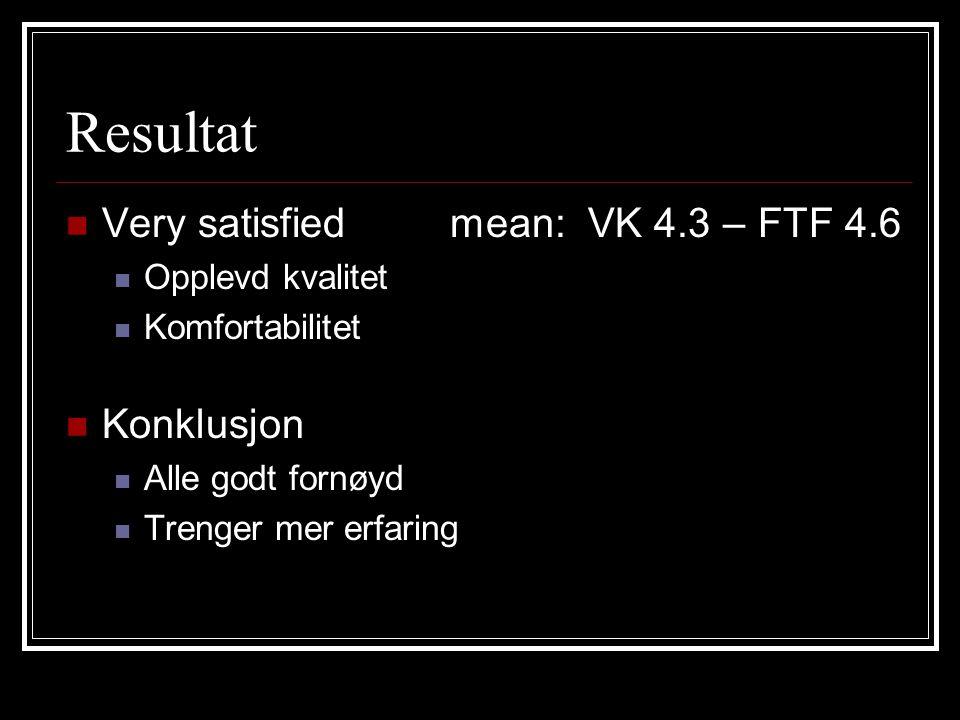 Resultat Very satisfied mean: VK 4.3 – FTF 4.6 Opplevd kvalitet Komfortabilitet Konklusjon Alle godt fornøyd Trenger mer erfaring