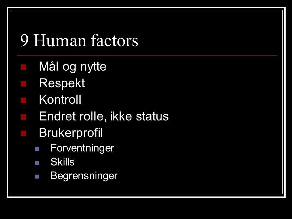 9 Human factors Mål og nytte Respekt Kontroll Endret rolle, ikke status Brukerprofil Forventninger Skills Begrensninger