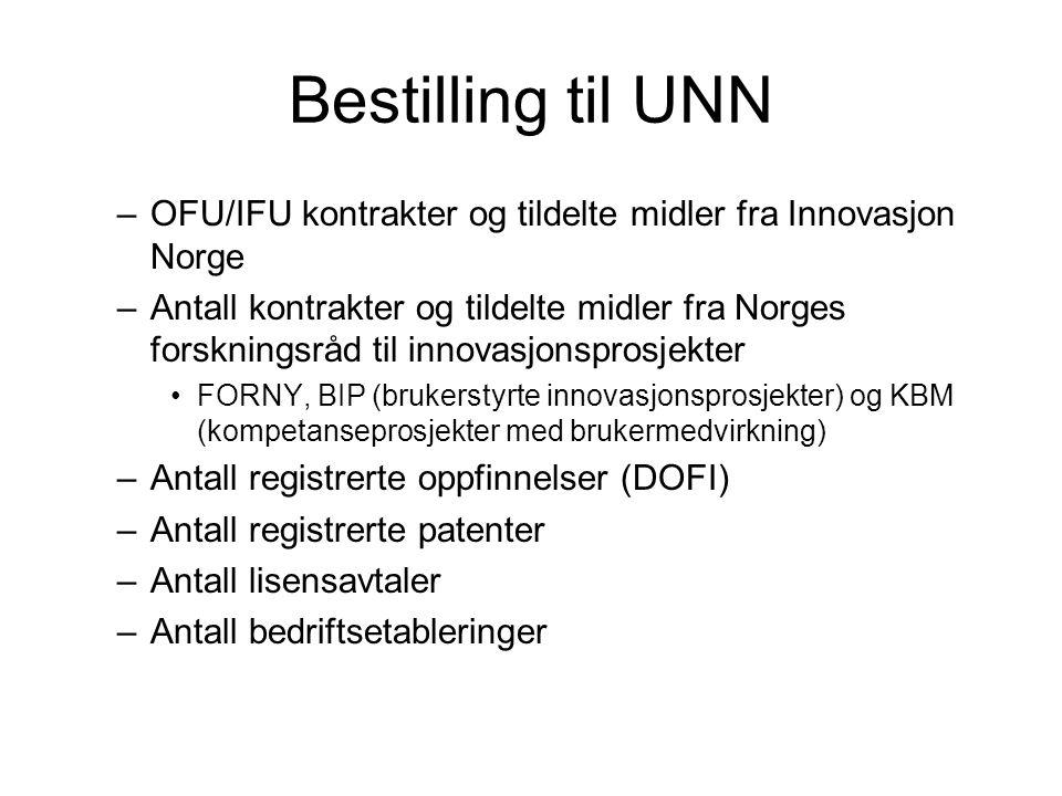 Bestilling til UNN –OFU/IFU kontrakter og tildelte midler fra Innovasjon Norge –Antall kontrakter og tildelte midler fra Norges forskningsråd til innovasjonsprosjekter FORNY, BIP (brukerstyrte innovasjonsprosjekter) og KBM (kompetanseprosjekter med brukermedvirkning) –Antall registrerte oppfinnelser (DOFI) –Antall registrerte patenter –Antall lisensavtaler –Antall bedriftsetableringer