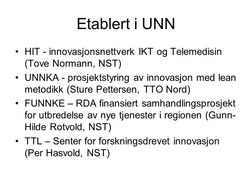 Etablert i UNN HIT - innovasjonsnettverk IKT og Telemedisin (Tove Normann, NST) UNNKA - prosjektstyring av innovasjon med lean metodikk (Sture Pettersen, TTO Nord) FUNNKE – RDA finansiert samhandlingsprosjekt for utbredelse av nye tjenester i regionen (Gunn- Hilde Rotvold, NST) TTL – Senter for forskningsdrevet innovasjon (Per Hasvold, NST)