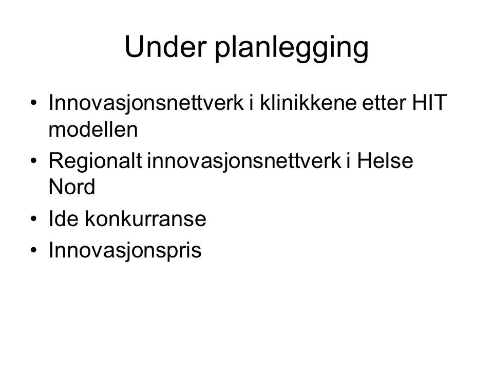 Under planlegging Innovasjonsnettverk i klinikkene etter HIT modellen Regionalt innovasjonsnettverk i Helse Nord Ide konkurranse Innovasjonspris
