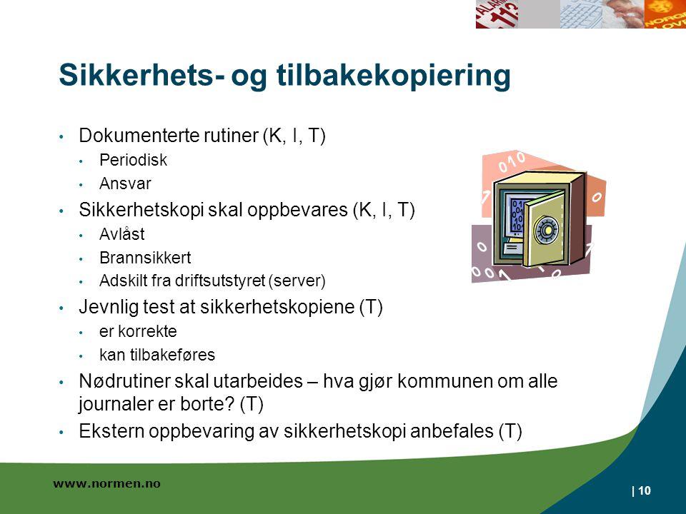 www.normen.no Sikkerhets- og tilbakekopiering Dokumenterte rutiner (K, I, T) Periodisk Ansvar Sikkerhetskopi skal oppbevares (K, I, T) Avlåst Brannsik