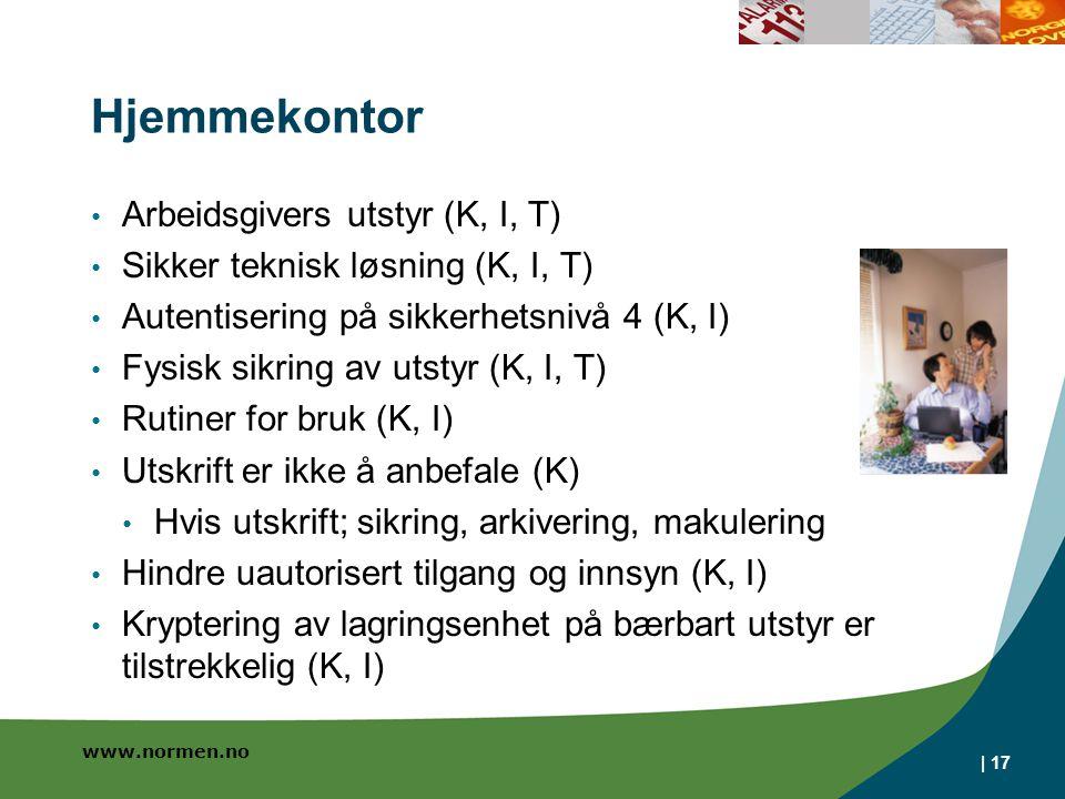 www.normen.no Hjemmekontor Arbeidsgivers utstyr (K, I, T) Sikker teknisk løsning (K, I, T) Autentisering på sikkerhetsnivå 4 (K, I) Fysisk sikring av