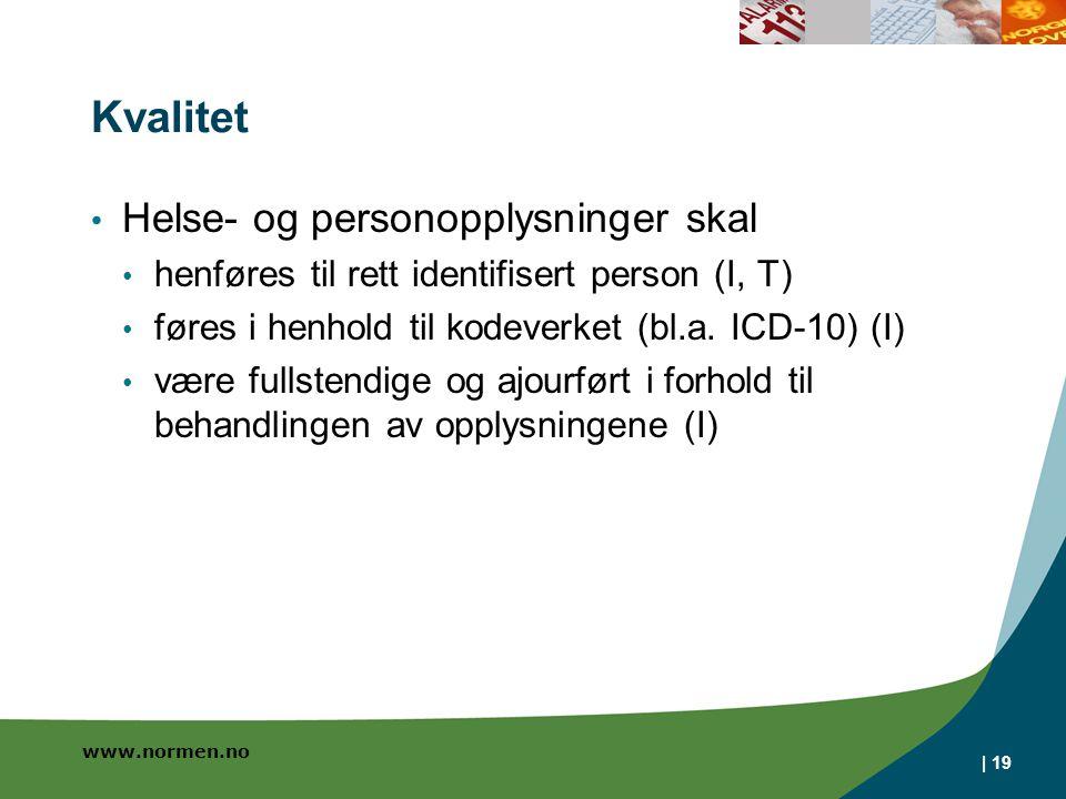 www.normen.no Kvalitet Helse- og personopplysninger skal henføres til rett identifisert person (I, T) føres i henhold til kodeverket (bl.a. ICD-10) (I