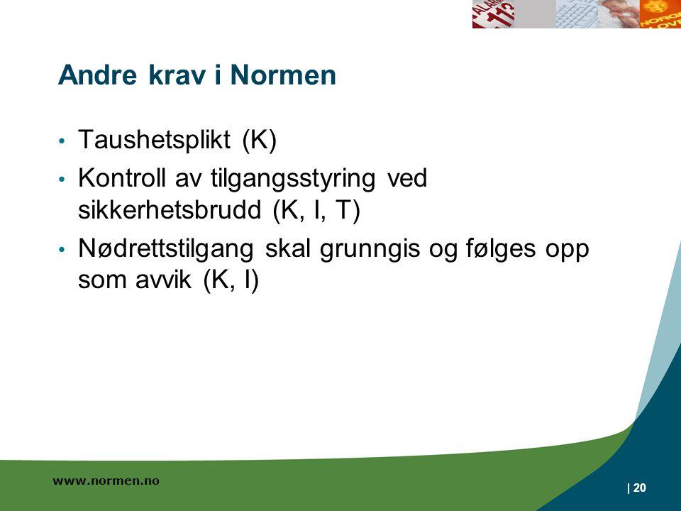 www.normen.no Andre krav i Normen Taushetsplikt (K) Kontroll av tilgangsstyring ved sikkerhetsbrudd (K, I, T) Nødrettstilgang skal grunngis og følges