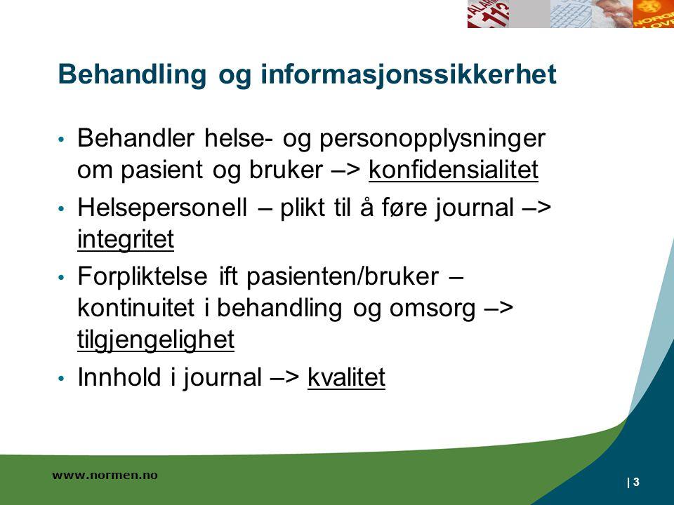 www.normen.no Behandling og informasjonssikkerhet Behandler helse- og personopplysninger om pasient og bruker –> konfidensialitet Helsepersonell – pli