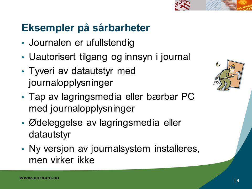 www.normen.no Eksempler på sårbarheter Journalen er ufullstendig Uautorisert tilgang og innsyn i journal Tyveri av datautstyr med journalopplysninger