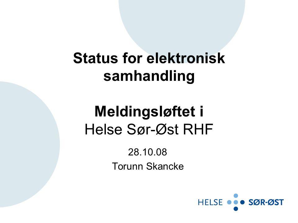 Status for elektronisk samhandling Meldingsløftet i Helse Sør-Øst RHF 28.10.08 Torunn Skancke
