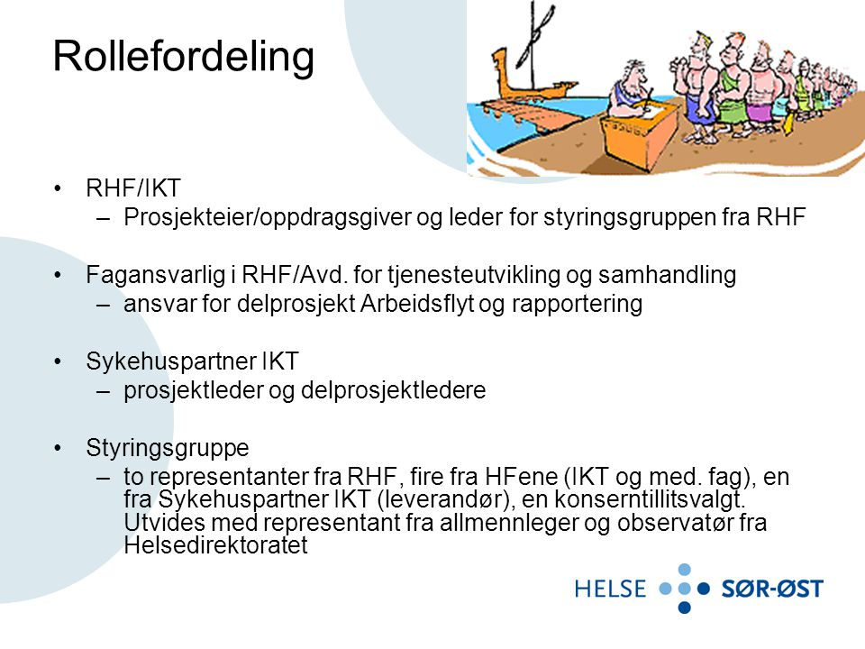 Rollefordeling RHF/IKT –Prosjekteier/oppdragsgiver og leder for styringsgruppen fra RHF Fagansvarlig i RHF/Avd.