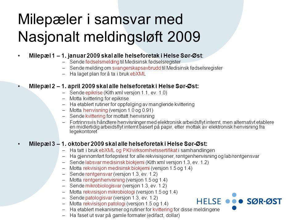 Milepæler i samsvar med Nasjonalt meldingsløft 2009 Milepæl 1 – 1.