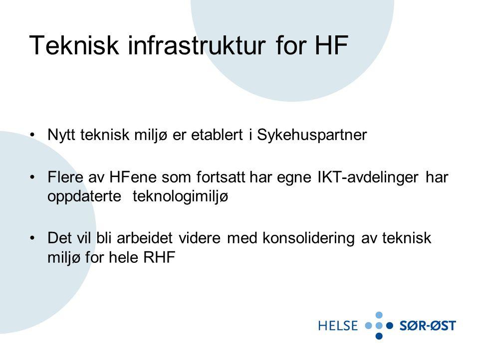 Teknisk infrastruktur for HF Nytt teknisk miljø er etablert i Sykehuspartner Flere av HFene som fortsatt har egne IKT-avdelinger har oppdaterte teknologimiljø Det vil bli arbeidet videre med konsolidering av teknisk miljø for hele RHF