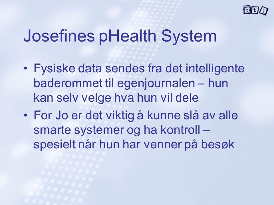 Josefines pHealth System Fysiske data sendes fra det intelligente baderommet til egenjournalen – hun kan selv velge hva hun vil dele For Jo er det vik