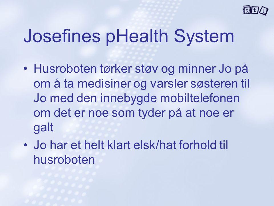 Josefines pHealth System Husroboten tørker støv og minner Jo på om å ta medisiner og varsler søsteren til Jo med den innebygde mobiltelefonen om det e