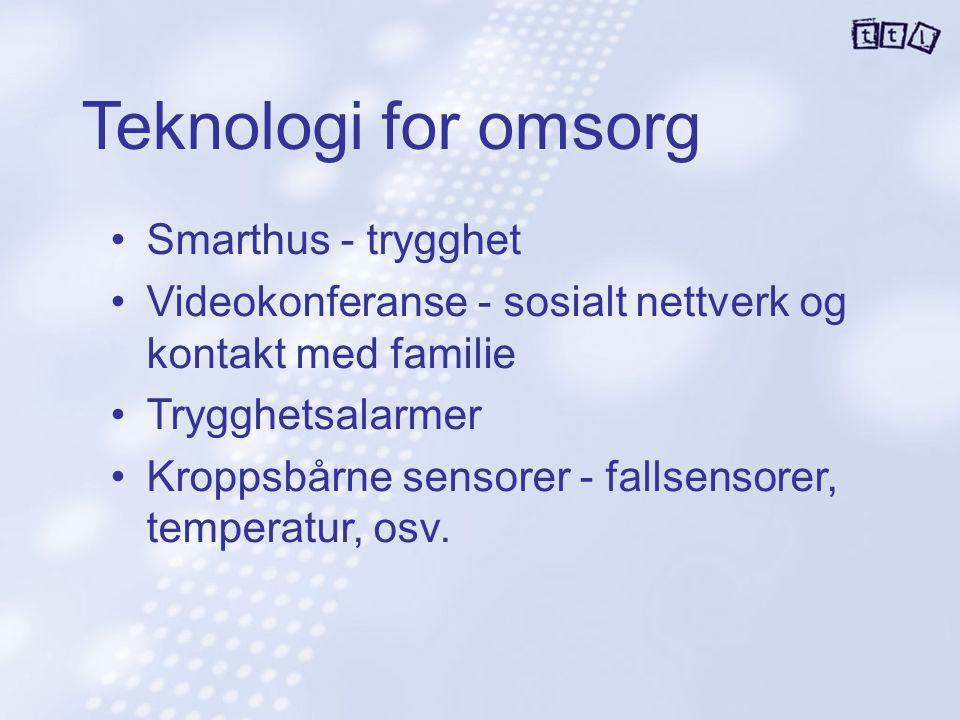 Teknologi for omsorg Smarthus - trygghet Videokonferanse - sosialt nettverk og kontakt med familie Trygghetsalarmer Kroppsbårne sensorer - fallsensore