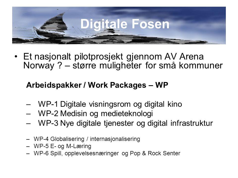Et nasjonalt pilotprosjekt gjennom AV Arena Norway .