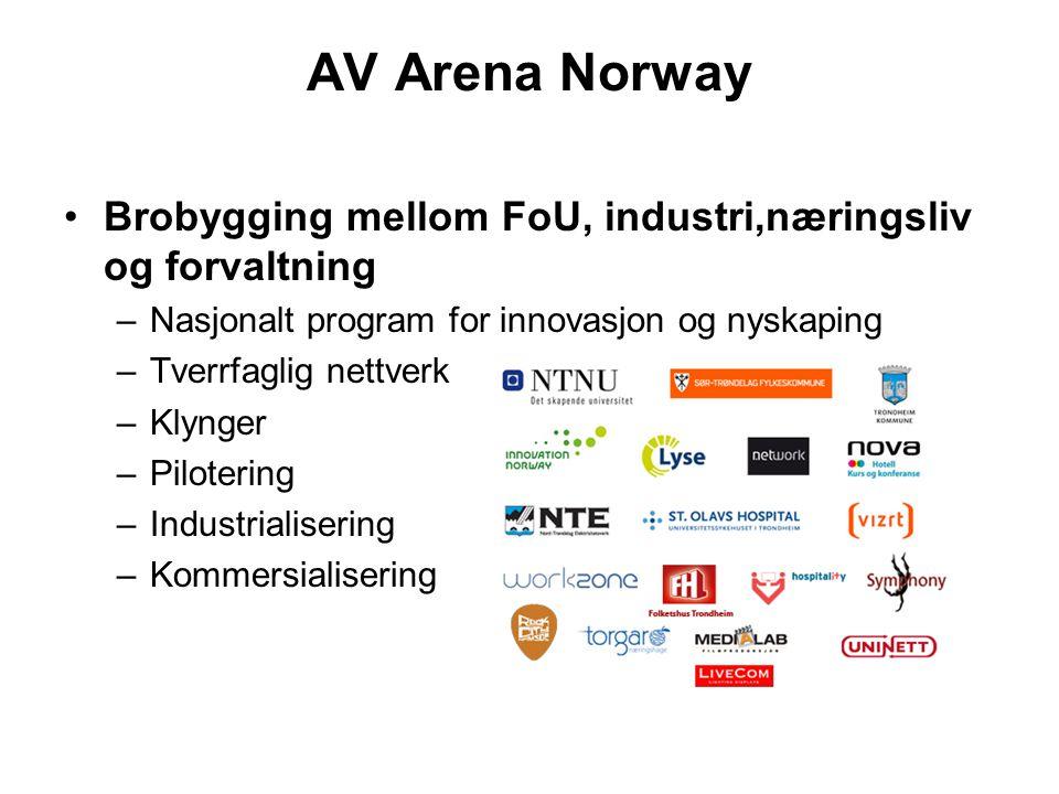 AV Arena Norway Brobygging mellom FoU, industri,næringsliv og forvaltning –Nasjonalt program for innovasjon og nyskaping –Tverrfaglig nettverk –Klynger –Pilotering –Industrialisering –Kommersialisering
