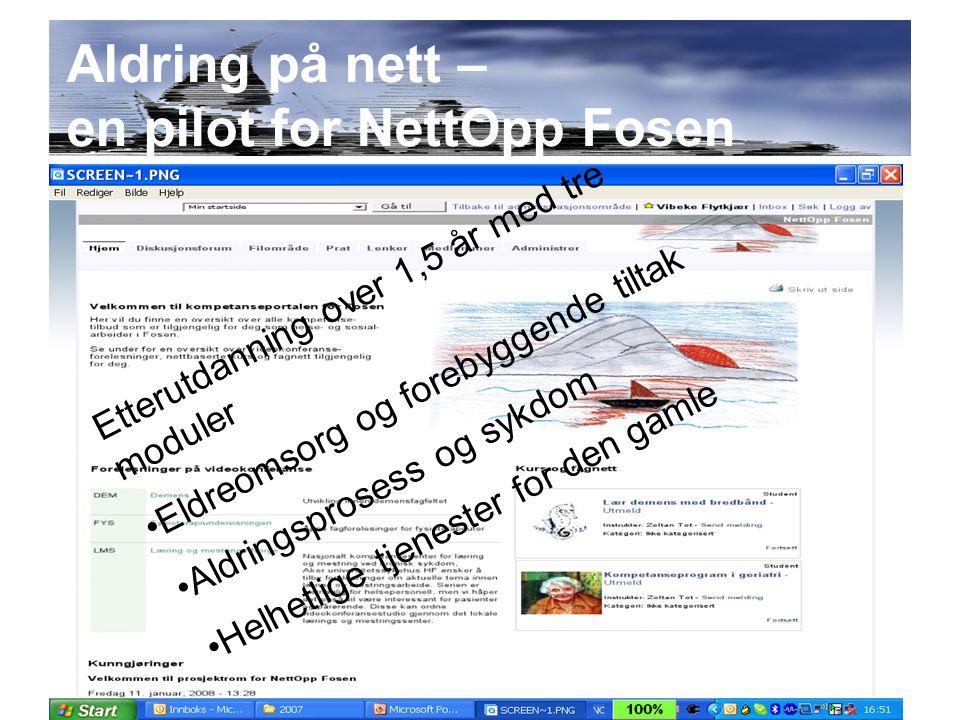 Aldring på nett – en pilot for NettOpp Fosen Etterutdanning over 1,5 år med tre moduler Eldreomsorg og forebyggende tiltak Aldringsprosess og sykdom Helhetlige tjenester for den gamle