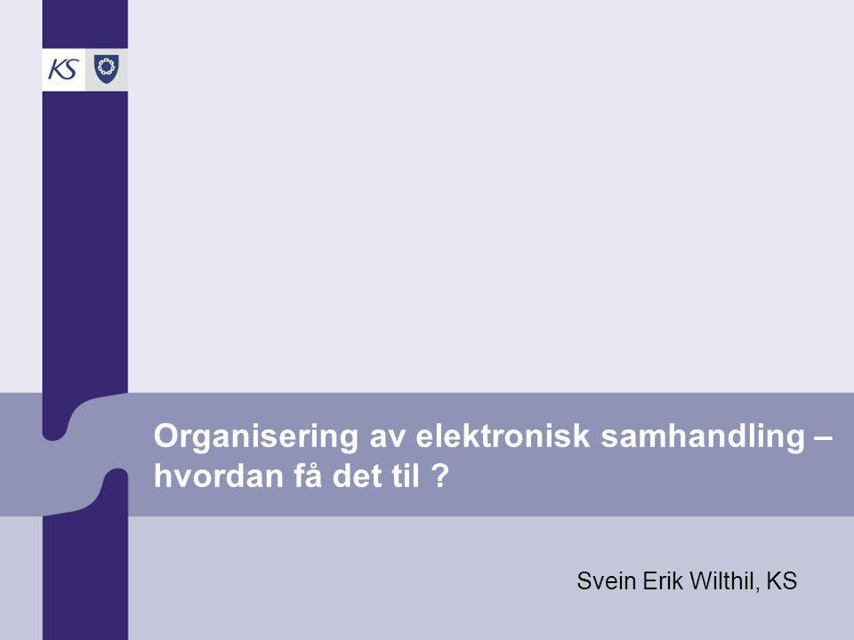 Organisering av elektronisk samhandling – hvordan få det til Svein Erik Wilthil, KS