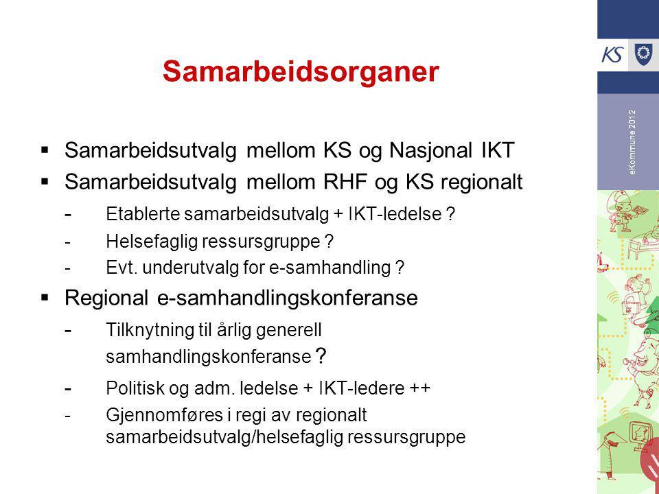 eKommune 2012 Samarbeidsorganer  Samarbeidsutvalg mellom KS og Nasjonal IKT  Samarbeidsutvalg mellom RHF og KS regionalt - Etablerte samarbeidsutvalg + IKT-ledelse .