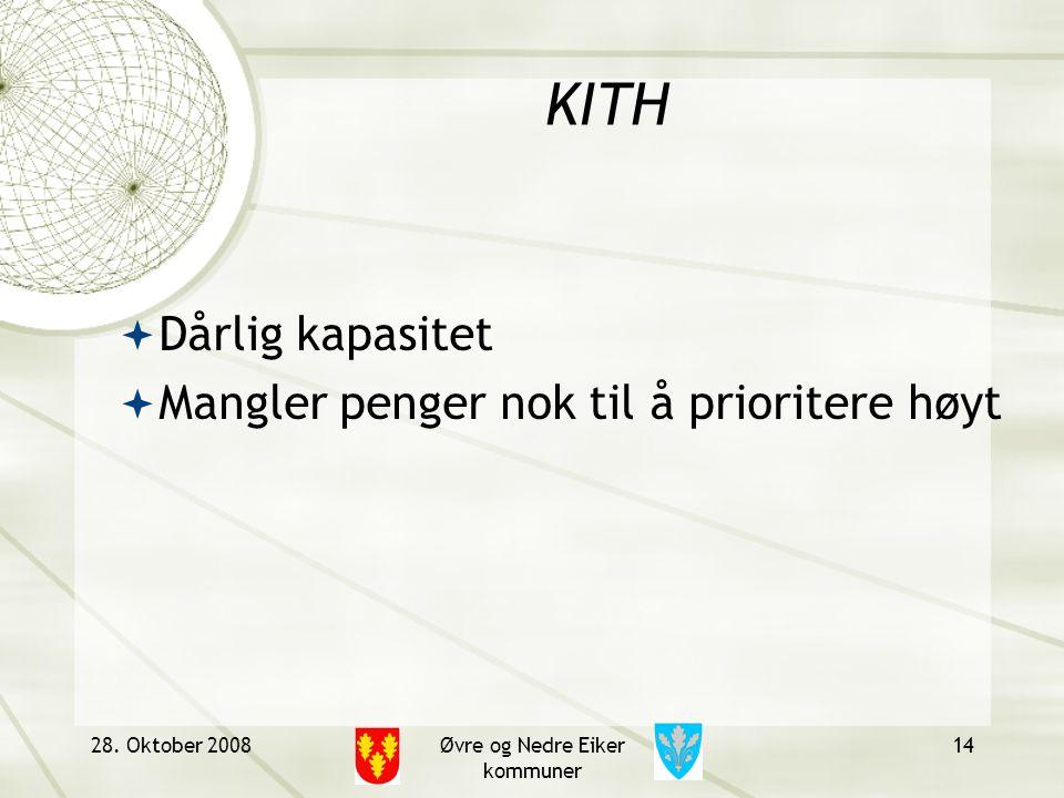 KITH  Dårlig kapasitet  Mangler penger nok til å prioritere høyt 28. Oktober 2008Øvre og Nedre Eiker kommuner 14