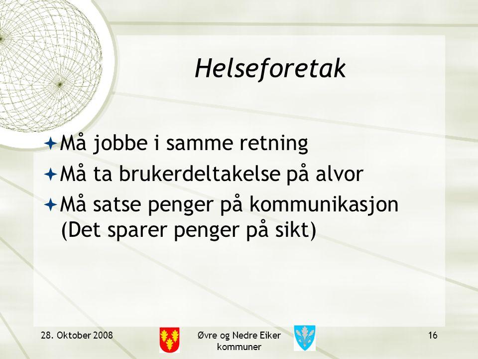 Helseforetak  Må jobbe i samme retning  Må ta brukerdeltakelse på alvor  Må satse penger på kommunikasjon (Det sparer penger på sikt) 28. Oktober 2