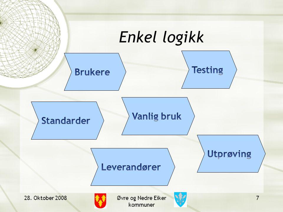 28. Oktober 2008Øvre og Nedre Eiker kommuner 7 Enkel logikk