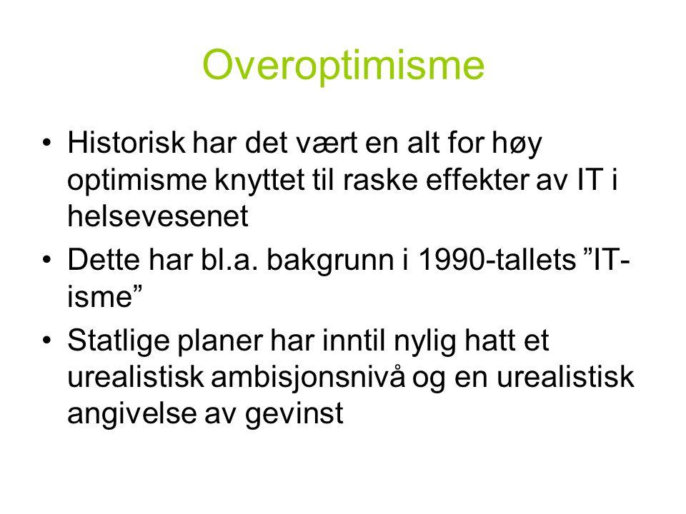 Overoptimisme Historisk har det vært en alt for høy optimisme knyttet til raske effekter av IT i helsevesenet Dette har bl.a.