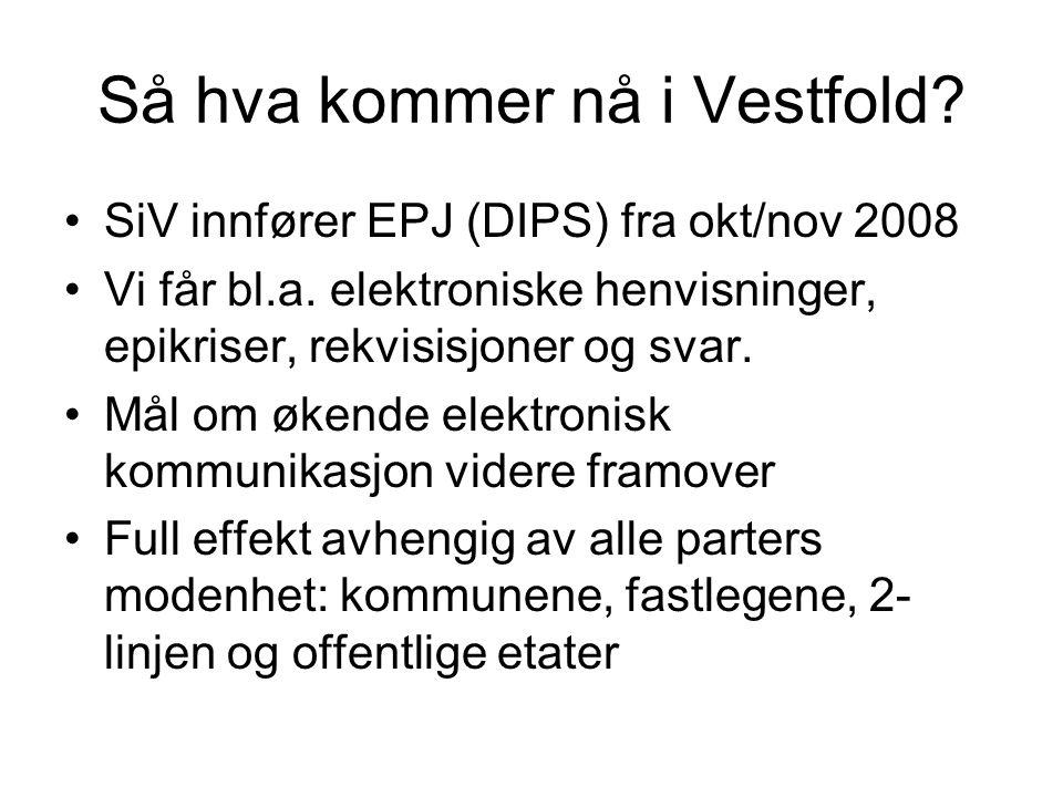Så hva kommer nå i Vestfold. SiV innfører EPJ (DIPS) fra okt/nov 2008 Vi får bl.a.