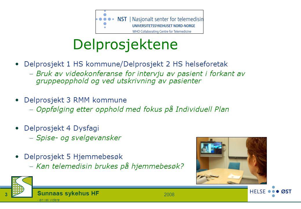 20083 Sunnaas sykehus HF - en vei videre Delprosjektene Delprosjekt 1 HS kommune/Delprosjekt 2 HS helseforetak Bruk av videokonferanse for intervju