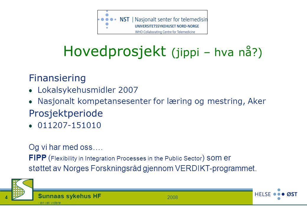 20084 Sunnaas sykehus HF - en vei videre Hovedprosjekt (jippi – hva nå?) Finansiering Lokalsykehusmidler 2007 Nasjonalt kompetansesenter for læring