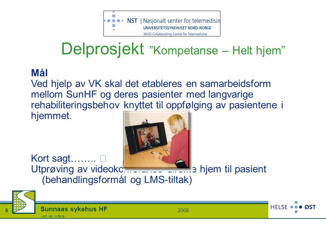 """20086 Sunnaas sykehus HF - en vei videre Delprosjekt """"Kompetanse – Helt hjem"""" Mål Ved hjelp av VK skal det etableres en samarbeidsform mellom SunHF og"""