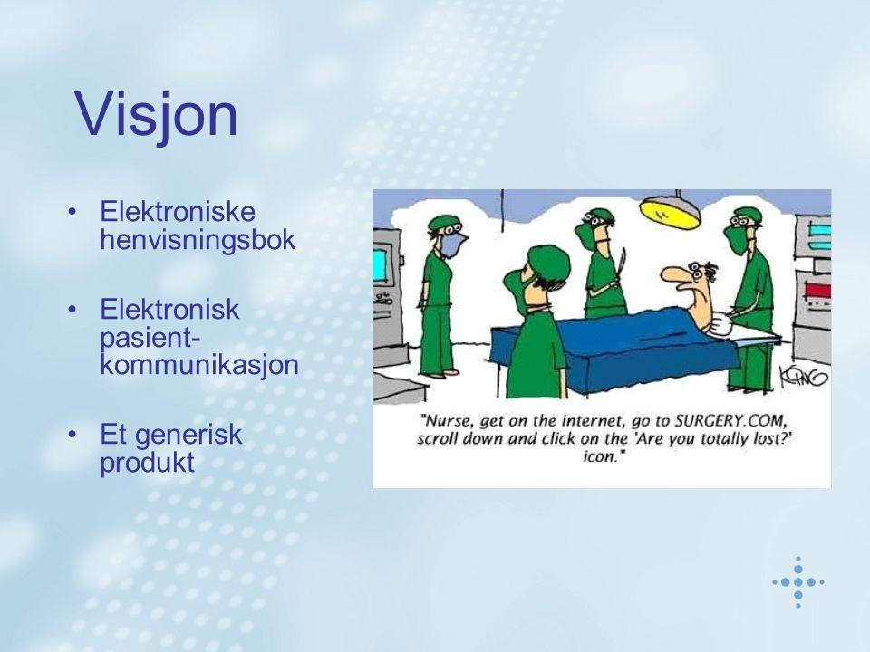 Visjon Elektroniske henvisningsbok Elektronisk pasient- kommunikasjon Et generisk produkt