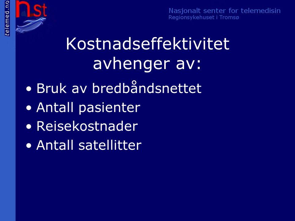 Kostnadseffektivitet avhenger av: Bruk av bredbåndsnettet Antall pasienter Reisekostnader Antall satellitter