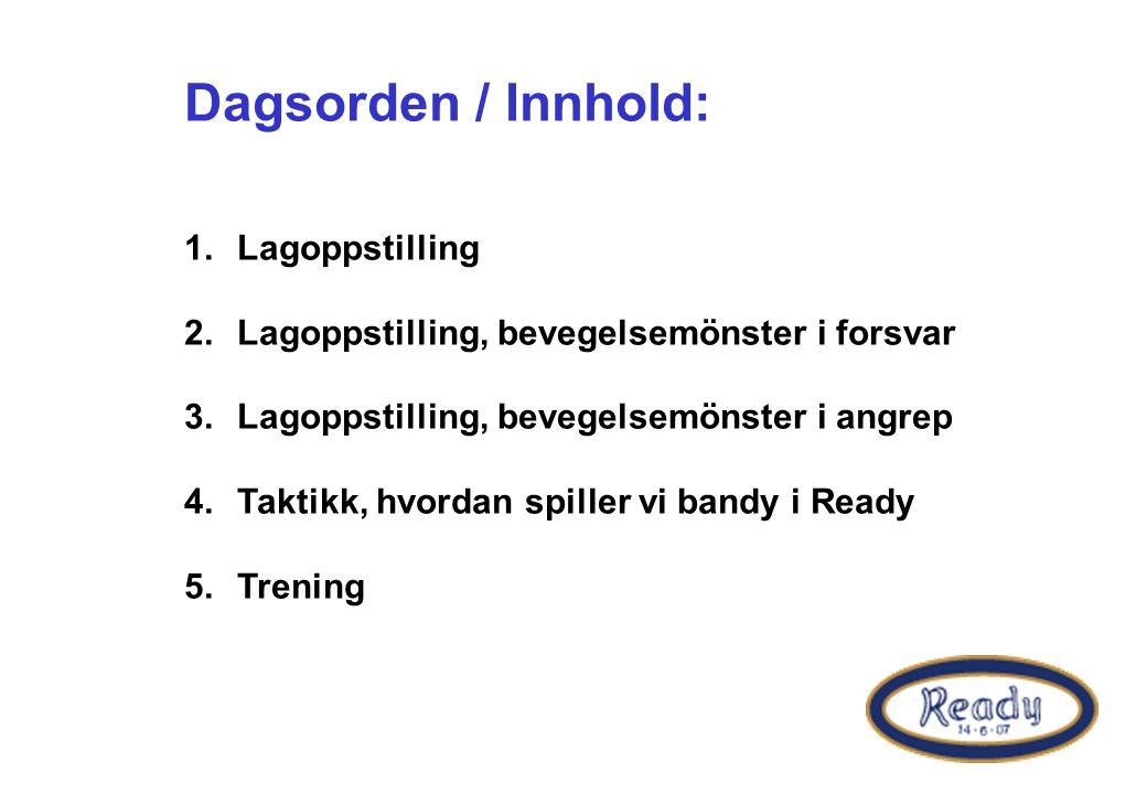 Dagsorden / Innhold: 1.Lagoppstilling 2.Lagoppstilling, bevegelsemönster i forsvar 3.Lagoppstilling, bevegelsemönster i angrep 4.Taktikk, hvordan spiller vi bandy i Ready 5.Trening