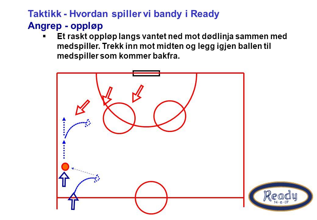 Taktikk - Hvordan spiller vi bandy i Ready Angrep - oppløp  Et raskt oppløp langs vantet ned mot dødlinja sammen med medspiller.
