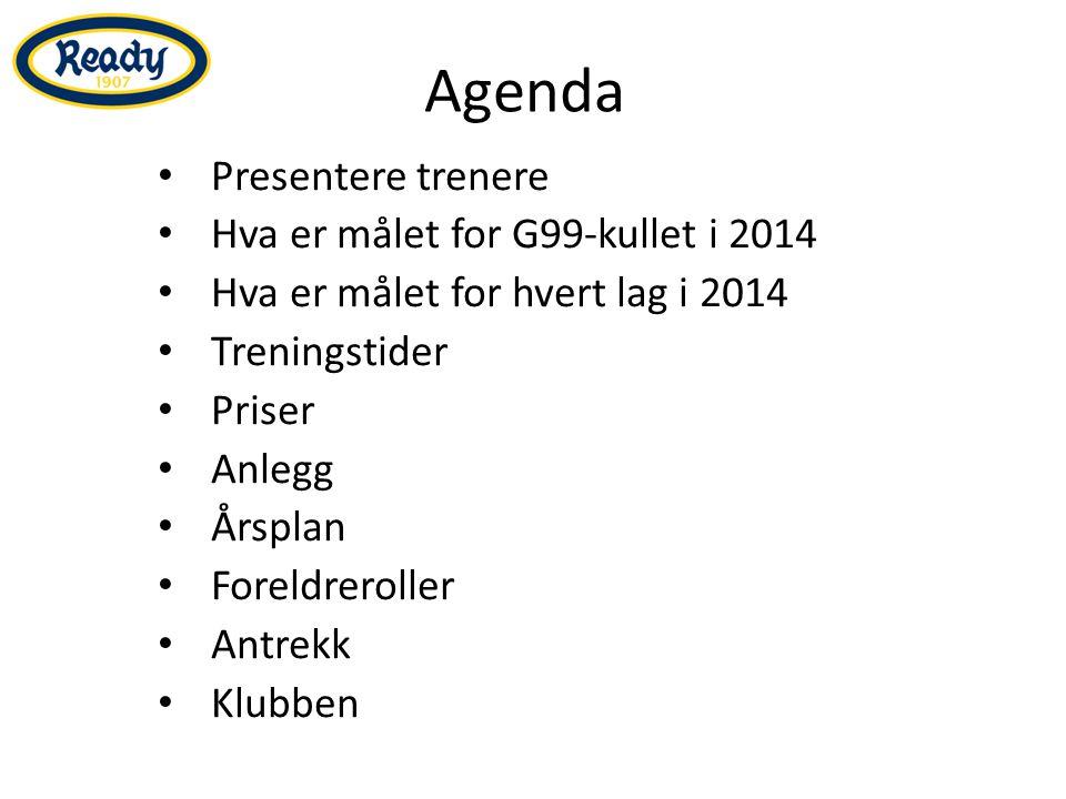 Agenda Presentere trenere Hva er målet for G99-kullet i 2014 Hva er målet for hvert lag i 2014 Treningstider Priser Anlegg Årsplan Foreldreroller Antrekk Klubben