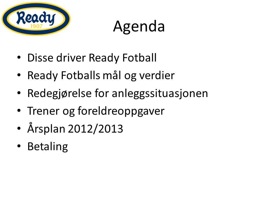 Agenda Disse driver Ready Fotball Ready Fotballs mål og verdier Redegjørelse for anleggssituasjonen Trener og foreldreoppgaver Årsplan 2012/2013 Betal