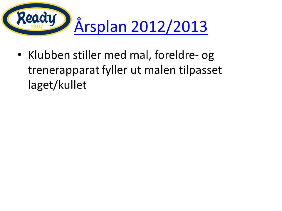 Årsplan 2012/2013 Klubben stiller med mal, foreldre- og trenerapparat fyller ut malen tilpasset laget/kullet