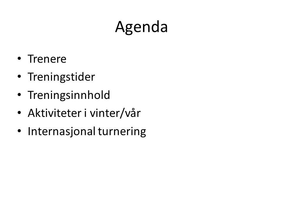 Agenda Trenere Treningstider Treningsinnhold Aktiviteter i vinter/vår Internasjonal turnering