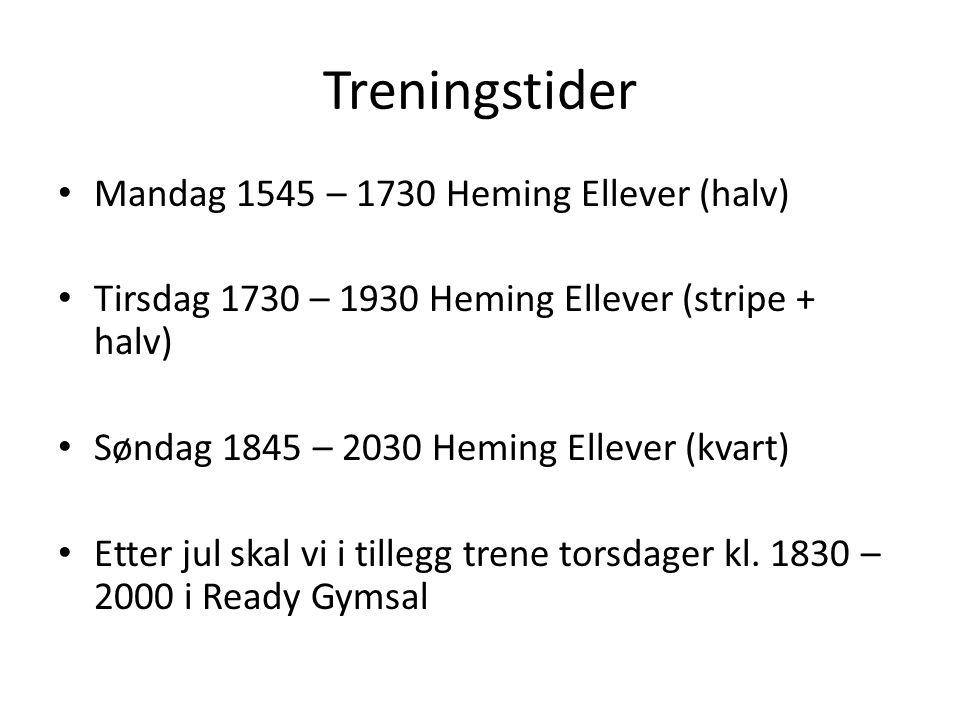 Treningstider Mandag 1545 – 1730 Heming Ellever (halv) Tirsdag 1730 – 1930 Heming Ellever (stripe + halv) Søndag 1845 – 2030 Heming Ellever (kvart) Etter jul skal vi i tillegg trene torsdager kl.