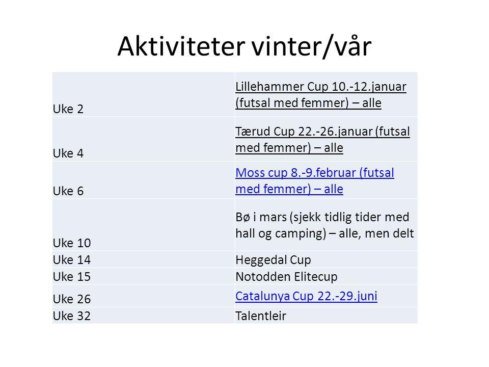 Aktiviteter vinter/vår Uke 2 Lillehammer Cup 10.-12.januar (futsal med femmer) – alle Uke 4 Tærud Cup 22.-26.januar (futsal med femmer) – alle Uke 6 Moss cup 8.-9.februar (futsal med femmer) – alle Uke 10 Bø i mars (sjekk tidlig tider med hall og camping) – alle, men delt Uke 14Heggedal Cup Uke 15Notodden Elitecup Uke 26 Catalunya Cup 22.-29.juni Uke 32Talentleir